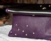 Hoshi - pouch in italian leather - Handmade in italy - zip closure
