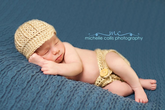 Photo Prop Baby Boy Newsboy Hat & Diaper Cover - Photography Props - Newborn 3 - 6 mths Hand Crochet