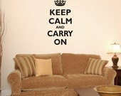 Quote Wall Vinyl Decal Sticker Keep Calm and Carry On Wall Décor Inspirational Quotes