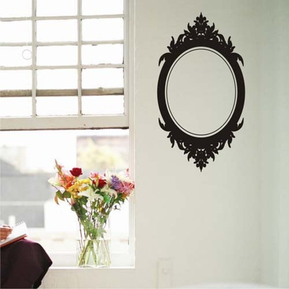 Baroque Oval frame Vinyl Wall Art Decal Graphic Sticker