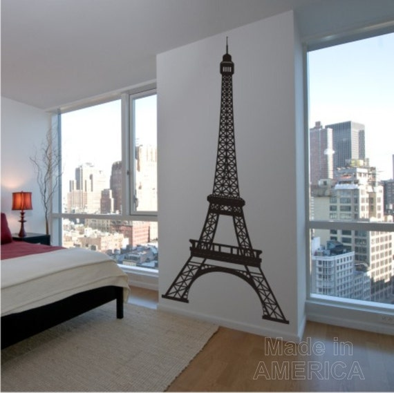 Items similar to wall decal eiffel tower 8 feet tall for Eiffel tower decorations for the home