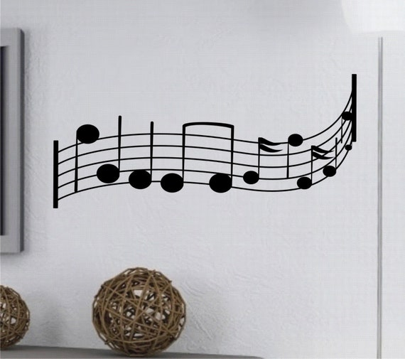 Wall Decorations Music Notes : Items similar to wall decal musical notes vinyl art