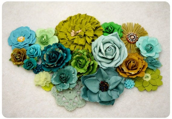 Teal and Green - Floral Assortment