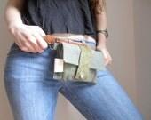 Green Waist pack mini messenger hiking satchel stripes