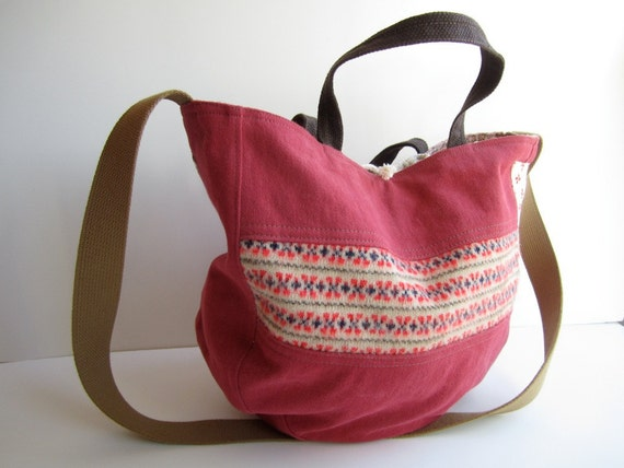 pomegranate denim canvas fair isle wool shoulder tote The Humble HoBo