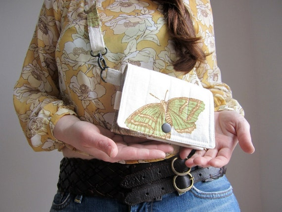 Utility fanny pack Waist mini messenger bicycle pouch butterfly moth Made to Order