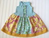 Pop Garden Mix match Dress...READY to SHIP...size 3 Free Shipping