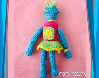 Amigurumi Art Doll Robot - Robotina Blue body, pink blouse and green skirt