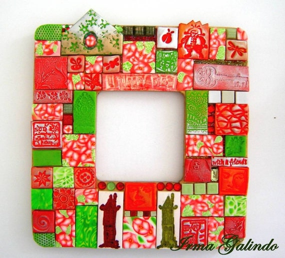 Polymer Clay Mosaic Mirror  Between Two Houses  Reduce Price and FREE Shipping USA
