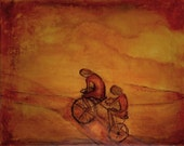 Print, orange bicycle autumn Tandem
