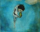 "Digital print boy's room art. turquoise and aqua. ""Rescue of a Seaworthy Creature"""