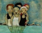 """Giclee wall art. Summer women art. """"Sea Sirens Reunion"""""""