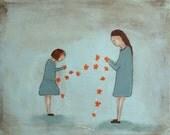 Giclee print. children's wall art. mom daughter art print. girls room aqua nursery decor. Daisy Chain Mae and Bebe