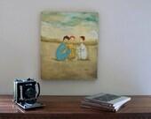 STUDIO SALE Original oil painting  on wooden panel, ladies, Pow Wow