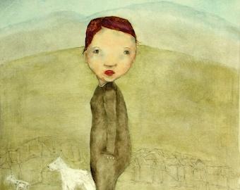"Little girl art print giclee art print for tween/teen girls room. girl's room wall art. ""Small Town Girl"""