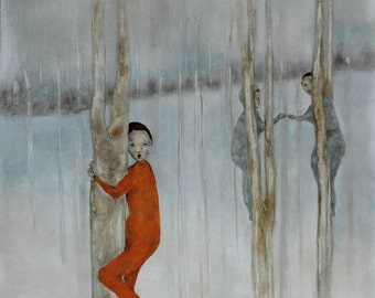 Giclee print. girl room decor wall art. forest landscape art