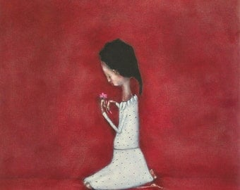 Girls red nursery art. children's room art. giclee print