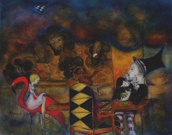 "Digital print of original painting. Illustration print. Alice in Wonderland Mad Hatter, ""Tea Party"""