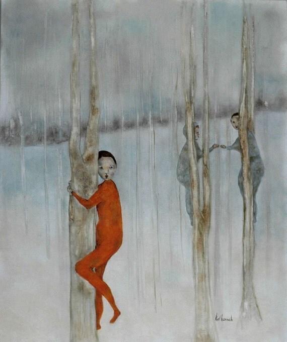 Giclee. Illustration art print. girls in woodland. figurative portrait. fine art print.