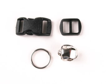 Cat Collar Hardware Set - Nylon Breakaway Buckle with Nickel Bell and Split Ring