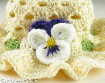 Crochet Pansy Easter Bonnet Toddler Baby Hat Digital Download PDF Crochet Pattern