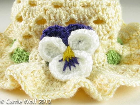 Free Crochet Pattern For Easter Bonnet : Crochet Pansy Easter Bonnet Toddler Baby Hat Digital Download