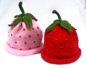 Best Friends Knit Fruit Hat Pack - Strawberry - Infant Sizes Perfect for use as a Photography Prop
