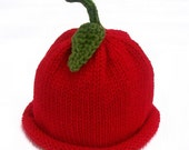 Knit Red Apple Fruit Hat  for Toddlers and Children