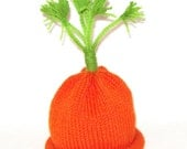 Carrot Top Cutie Knit Vegetable Hat sized to fit Infants and Babies