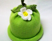 Knit Sweet Baby Sweet Pea Hat with Flower Perfect Newborn Photography Prop Infant Sizes