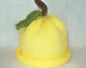 Knit Sweet Baby Lemon Hat  sized to fit Newborns to 1 YR Great Phot Prop