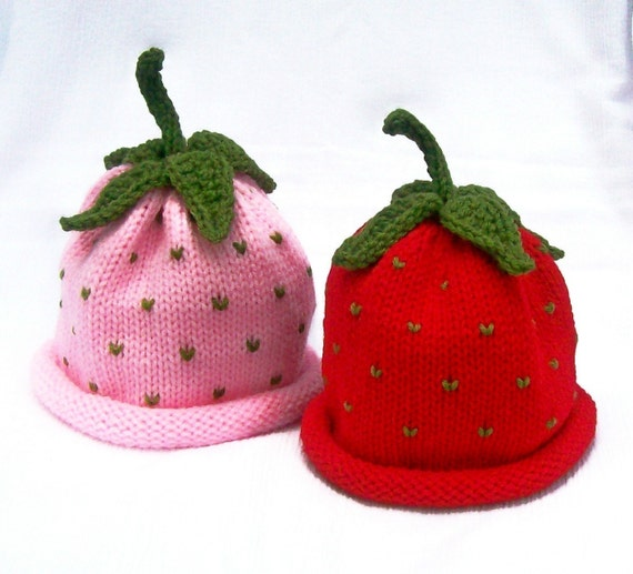 Best Friends Fruit Hat Pack - Strawberry - Infant, Toddler and Child Sizes Perfect for use as a Photography Prop