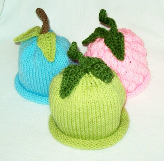 Items similar to Spring Fling Knit Newborn Fruit Vegetable Hats for Boys and ...