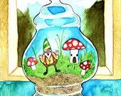Gnome Trapped in the Terrarium 8x10 Fine Art Print
