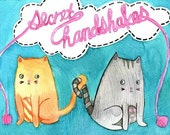 Kitty Cat Secret Handshakes 5x7 Fine Art Print