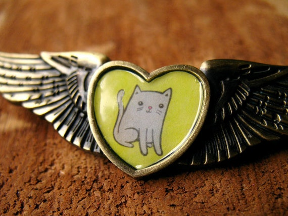 Cool Kitty Cat Wing Pin