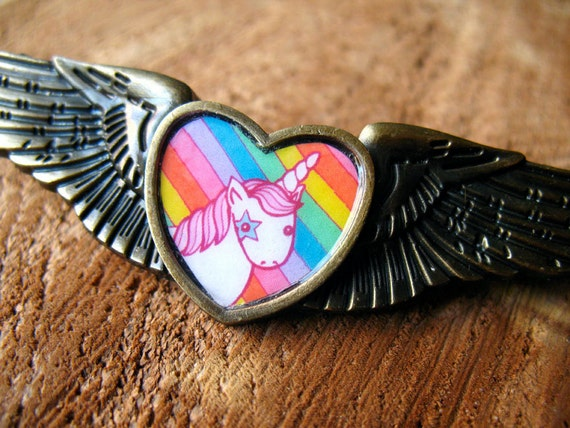 Unicorn Rainbow Magic Wing Pin