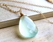 Gemstone Drop Necklace, Aqua Chalcedony Wire Wrapped Briolette Pendant