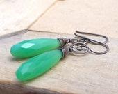 Green Chalcedony Long Drop Sterling Silver Spiral Earrings, Oxidized Silver