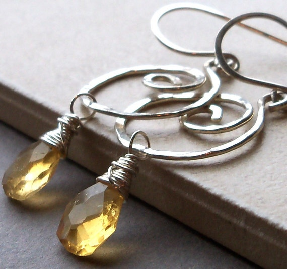 Hammered Sterling Silver Spiral Earrings with Citrine Drops