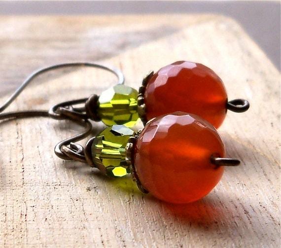 Antiqued Brass Fall Gemstone Earrings, Orange Agate, Olivine Crystal