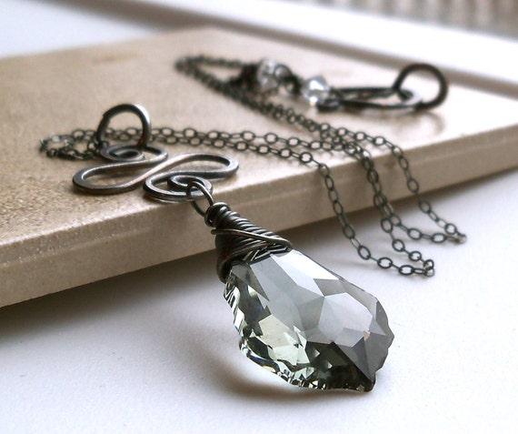 Swarovski Crystal Black Diamod Sterling Silver Pendant Necklace