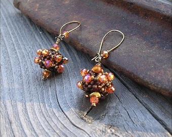 Sparkly Orange & Brown - Handmade Beaded Bead Earrings