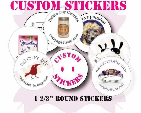 120 ROUND custom stickers with your logo or art