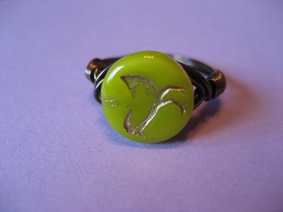 Wasabi Yellow Bird Ring (custom sized)