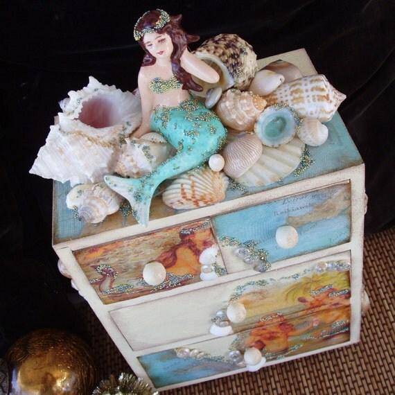 Mermaid Box Jewelry Trinket Keepsake Box With Seashells