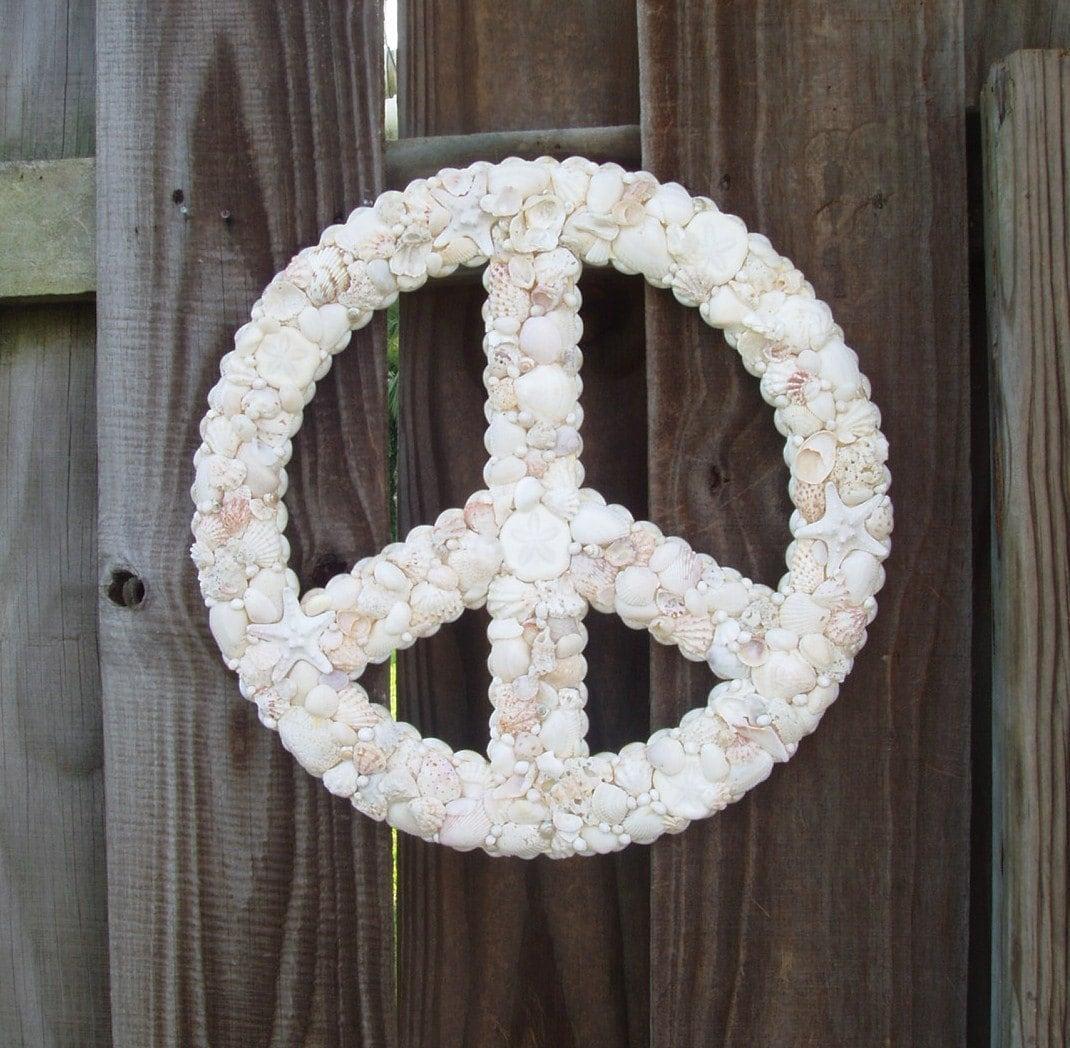 Peace Sign Wreath Seashells Starfish