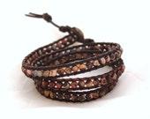 Red Poppy Jasper Leather Wrap Bracelet