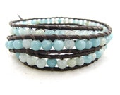 Sky Blue Amazonite Beaded Leather Wrap Bracelet