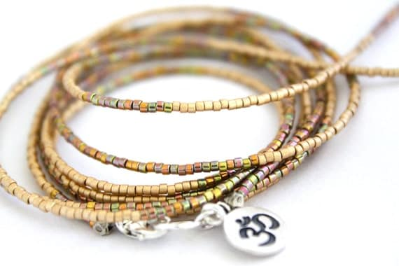 50% OFF..OM Gold Goddess Czech Wrap Bracelet or Necklace. Wraps 8-10 Times. Hill Tribe Fine Silver